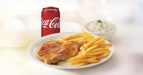 Combo filé de frango grelhado ou milanesa + refrigerante lata