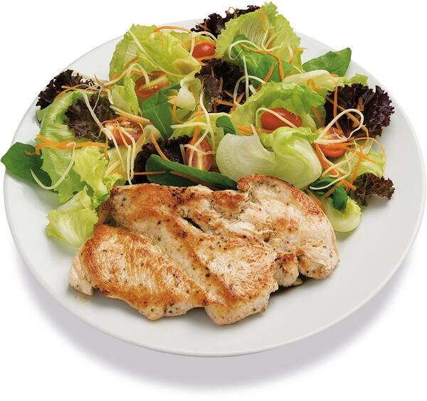 Escolha uma proteina + mix de folhas