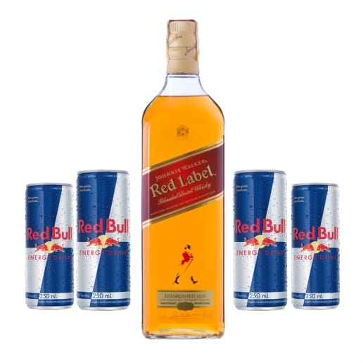 Combo whisky Red Label + 4 energético (Red Bull)