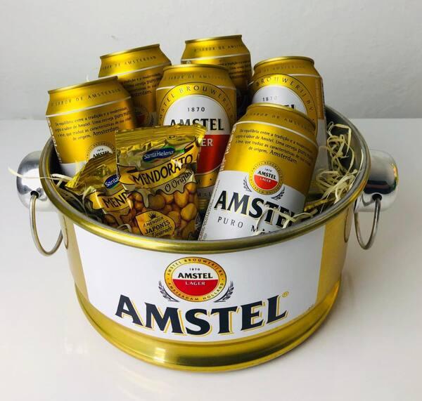 Kit cerveja Amstel lata 350ml + baldinho em alumínio