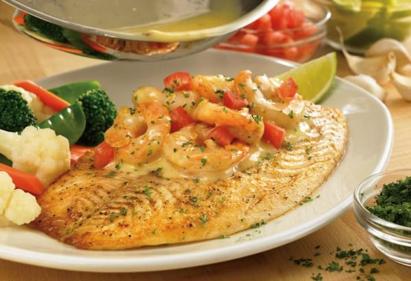 Grilled fish & shrimp scampi