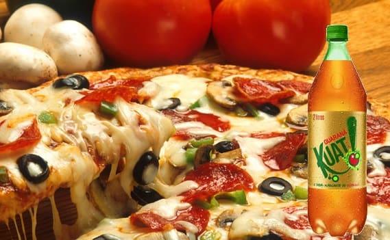 Promoção combo pizza portuguesa grande + guarana Kuat 2l