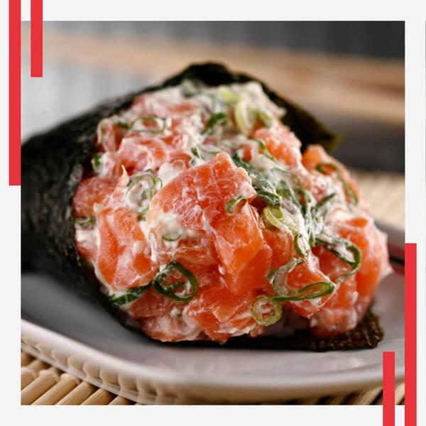 52-temaki salmão hot