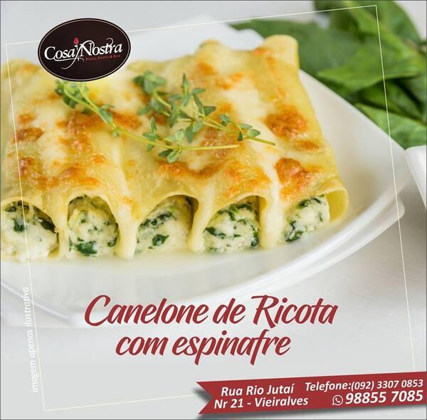 Caneloni de ricota e espinafre - serve 02 pessoas