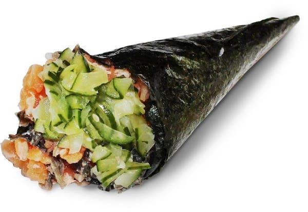 Temaki salmão sunomono