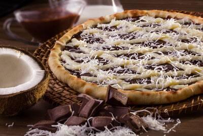 Pizza grande doce, grande, borda requeijão + embalagem, pizza Prestígio