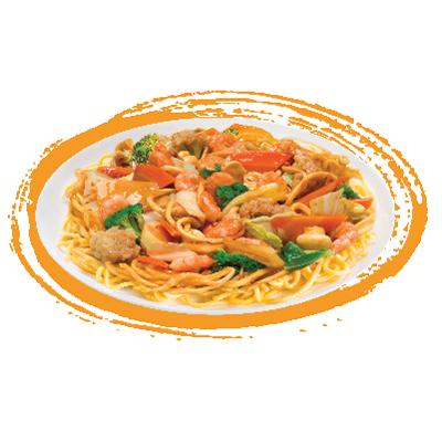Yakisoba de camarão  (macarrão chop-suey)