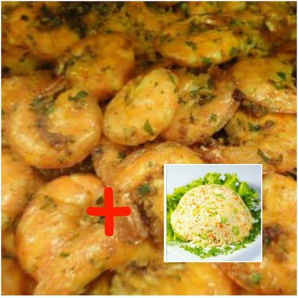 Camarões ao alho e óleo +refri 1lt + arroz yakimeshi