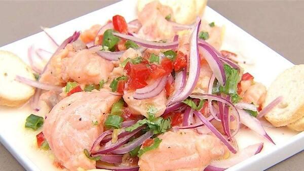 Combo casal 01unid ceviche+01unid sunomono+04unid filadelfia+04unid sushi pate atum+15fatias sashimi tilapia