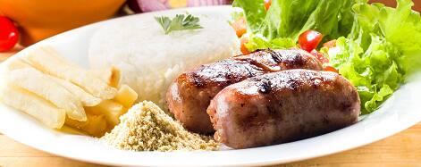 Linguiça grelhada (mini salada cortesia)