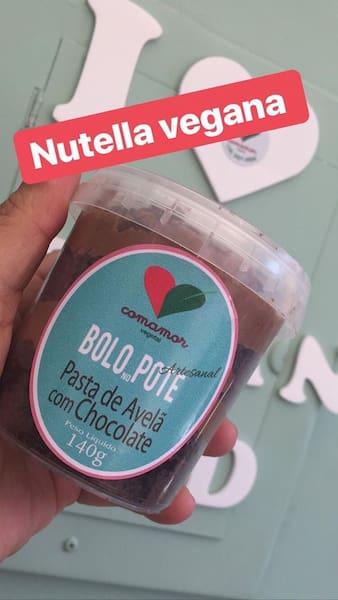 Bolo no pote vegano de Nutella