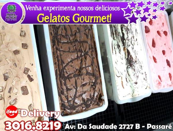 350g  gelato gourmet (sorvete especial) saboroso. 03 bolas + 01 cobertura + 01 recheio + kit colher + guardanapo. Total do kit: 350g