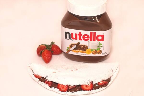 Tapioca gourmet de Nutella com morango