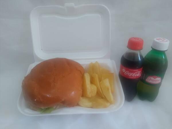 Delícia burguer calabresa + batata frita + refri