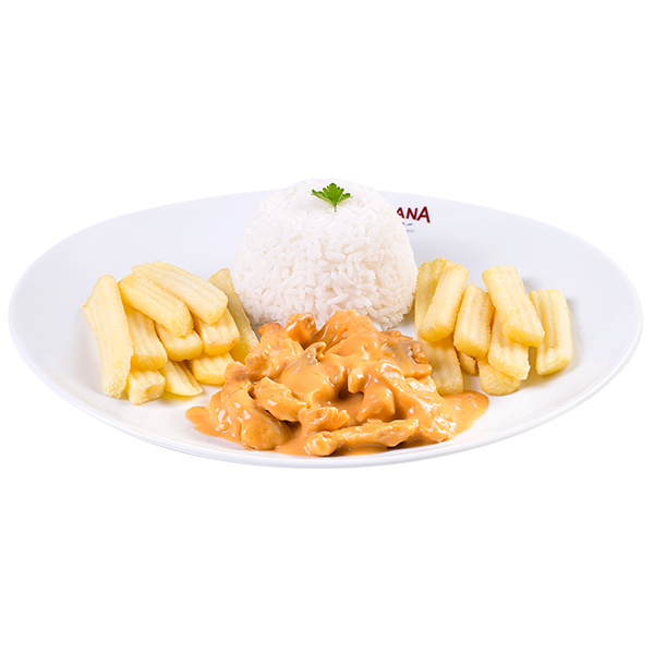 Strogonoff de frango (acompanhamentos fixos, não podem ser alterados)