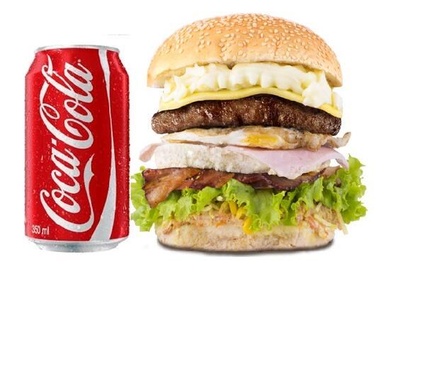 Promoção grande sabor + coca cola lata