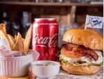 Burger sydney + refrigerante lata + potato wedges