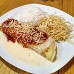 Combo panqueca carne ou frango + arroz + batata palha + refrigerante 200ml