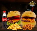 COMBO - 1 Mustang + 1 San Diego + Fritas (220g) ou Onion Rings (12unid) +  Refrigerante 600ml