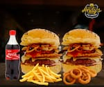 COMBO - 2 Andys Classico + Fritas (220g) ou Onion Rings (12unid)+  Refrigerante 600ml