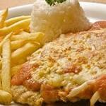 Filé de frango empanado com queijo  fritas mais arroz feijão*especialmente pagmto no dinheiro,débito ou crédito*    tam,(