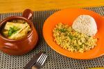 Moqueca de palmito pupunha assado, acompanha farofa de farinha d´água e arroz integral