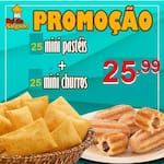 25 mini pasteis  + 25 mini churros