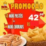 50 mini pasteis  + 25 mini churros
