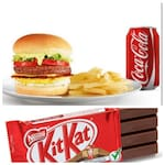A combo big mac mais coca lata 350 fritas 200 chocolate kit kat