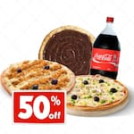 Combo da galera!!!!! 1 pizza grande 8 pedaços portuguesa + 1 pizza grande 8 pedaços frango com Catupiry + 1 broto 4 pedaços brigadeiro + 1 coca 2 lts