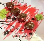 Joe de morango com Nutella, goiabada, com caldas de morango e chocolate (6 unidades)