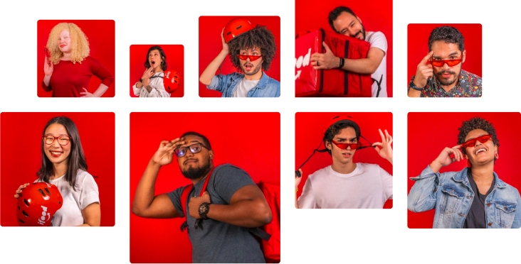 Fotos descontraidas de pessoas que trabalham no iFood