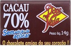 Chocolate 70% Cacau 0%Açucar 0%Lactose