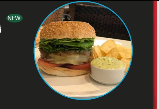 Gran indian ( new) delicioso hamburguer suino com queijo provolone vhutney de maça tomate e alface lisa no pao de gergilim acompanha chipis