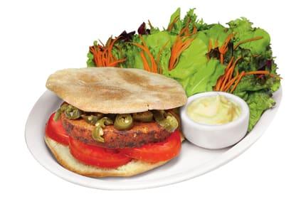 Veggie burger com jalapeños