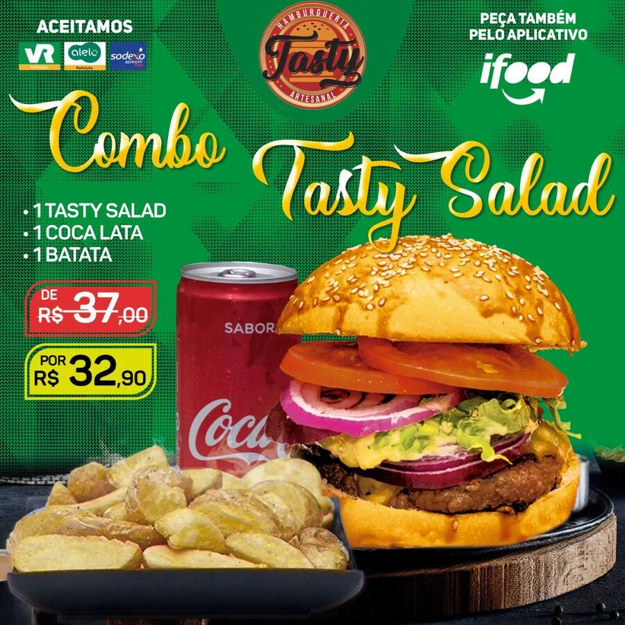 Meio combo salad: 1 Tasty salad / 1 Coca-lata / 1 Batata Individual