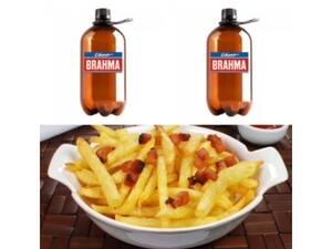 02 Growler De Chopp Brahma + 01 Porção de batata frita com bacon