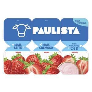 Iogurte Integral Morango Paulista Bandeja 510g 6un