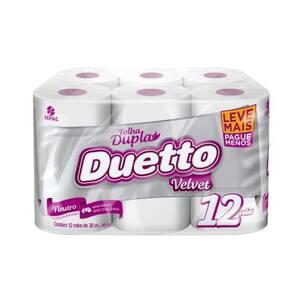 Papel Higiênico Duetto Velvet Folha Dupla 30m Embalagem Leve 12un Pague 11un
