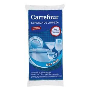 Esponja Multiuso Não Risca Carrefour 3un