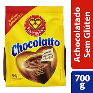 Achocolatado em Pó 3 Corações Chocolatto Sachê 700g