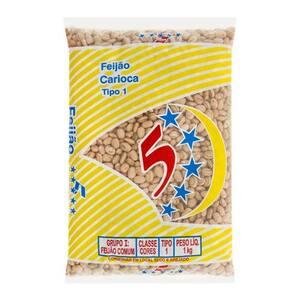 Feijão Carioca 5 Estrelas Tipo 1 Embalagem 1kg