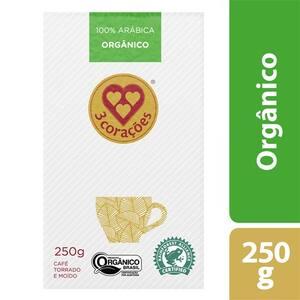 Café 3 Corações Orgânico Pacote a Vácuo 250g