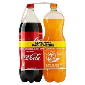 Refrigerante Coca Cola 2 Litros + Fanta Laranja 2 Litros