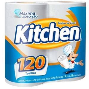 Papel Toalha Kitchen 120 Folhas Pacote 2 Un