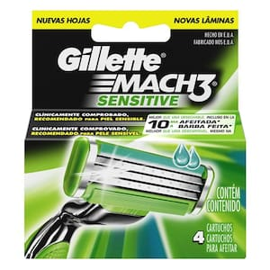 Carga de Aparelho de Barbear Gillette Mach3 Sensitive Embalagem 4 Un