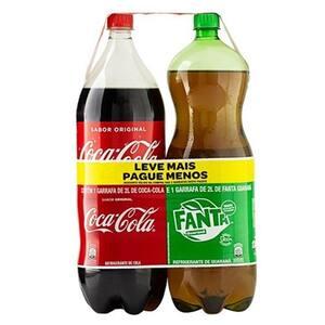 Refrigerante Coca Cola + Fanta Guaraná Pet 2 Litros