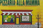 Logotipo Pizzaria Alla Mama -