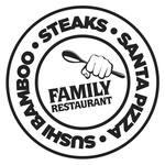 Logotipo Santa Pizza-sushi Bamboo-montana Steaks
